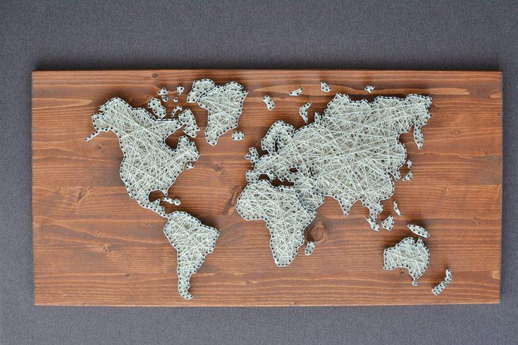 Excited to share the latest addition to my #etsy shop: World Map String Art | World Map Art http://etsy.me/2psMyYS #housewares #homedecor #bedroom #worldmap #walldecor #stringart #nailandstringart #weddinggift #solidwood https://firulmagic.ro