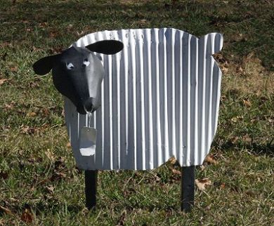Yard Art- Tin Sheep wouldn't this be cute in or near a flower or vegetable garden?