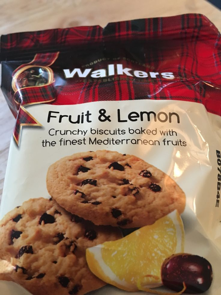 Walkers Fruit and Lemon biscuits. Made in Scotland.