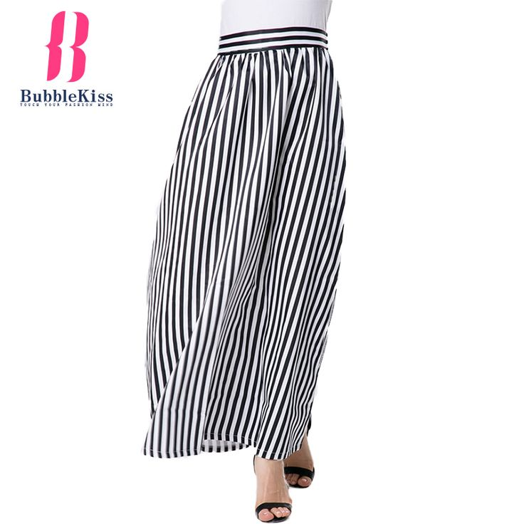 Striped Maxi Skirt Women High Waist Brief Style Autunm Summer Casual Long Tutu Skirt Bubblekiss #Affiliate