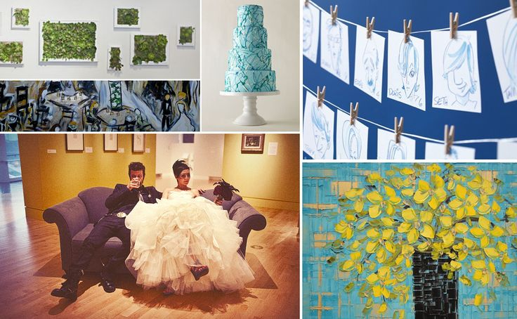 {wet paint} blue, green, and yellow art gallery wedding