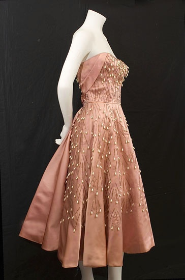 1950s Ceil Chapman beaded satin party dress via the Vintage Textile archives
