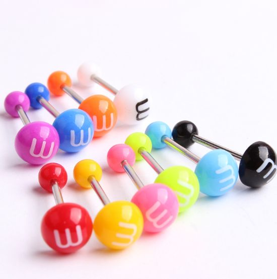 10Pcs Mixed Color Acrylic Tongue Stud Ring For Women Letter M Candy Color Piercing Tongue Piercing