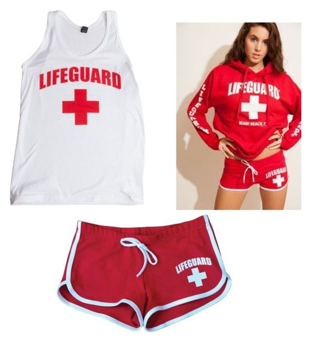 """Im officially a lifeguard ➕"" by toshimendes1 ❤ liked on Polyvore"