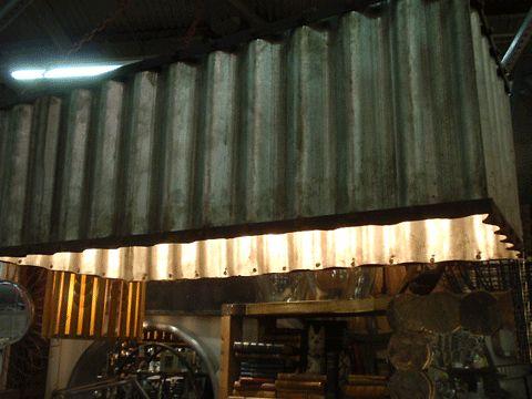 Corrugated metal lighting