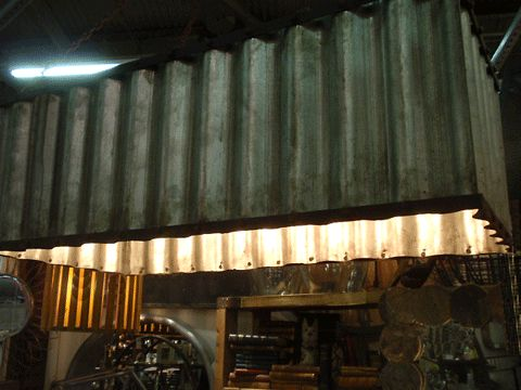 Corrugated metal lighting