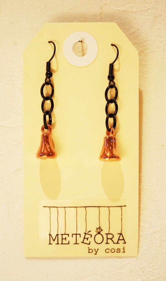 Copper Bell on Black Chain by meteorabycosi on Etsy, $8.00