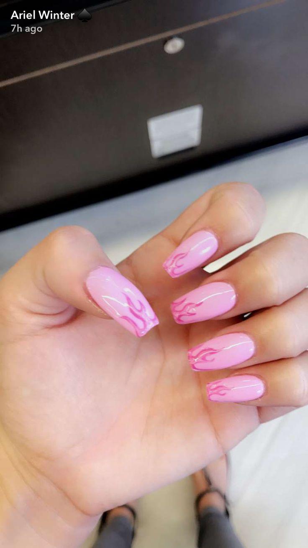 pink flame nails