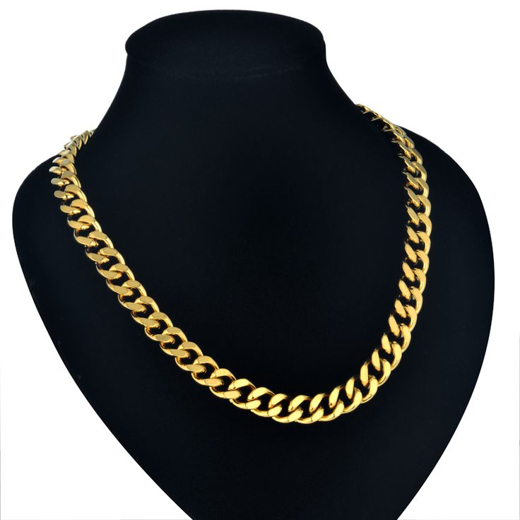 Neck Heavy Gold Chain For Men Big Chunky Necklaces Male Gold Color Hiphop Stainless Steel Cuban Chain Necklace 2017 Collares