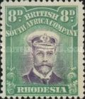 British South Africa Company, 1.9.1913, King George V., No.133, 8P green/violet. Stamped 54,88 USD. Unused 16,46 USD.