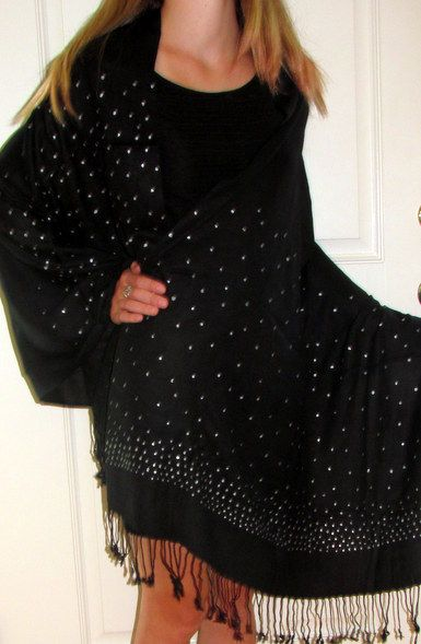 Black Dressy Evening Shawl Wrap Silver Dazzle. Crafted by skilled designers at www.yourselegantly.com