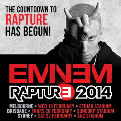 """""""THE COUNTDOWN TO EMINEM'S AUSTRALIAN TOUR HAS BEGUN. FINAL RELEASE OF TICKETS ON-SALE NOW""""!  Rapture Australia ft. Eminem with special guests Kendrick Lamar, J.Cole, Action Bronson and 360."""