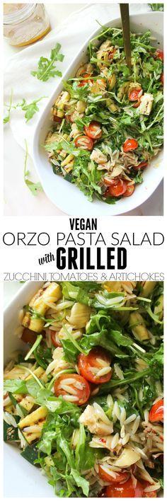 Vegan Orzo Pasta Salad with Grilled Veggies | http://ThisSavoryVegan.com