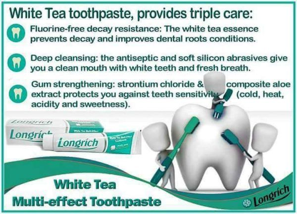 Is your oral health important to you? Then start using Longrich multi-effect Fluoride-free toothpaste. Fluoride and Triclosan are poisonous.