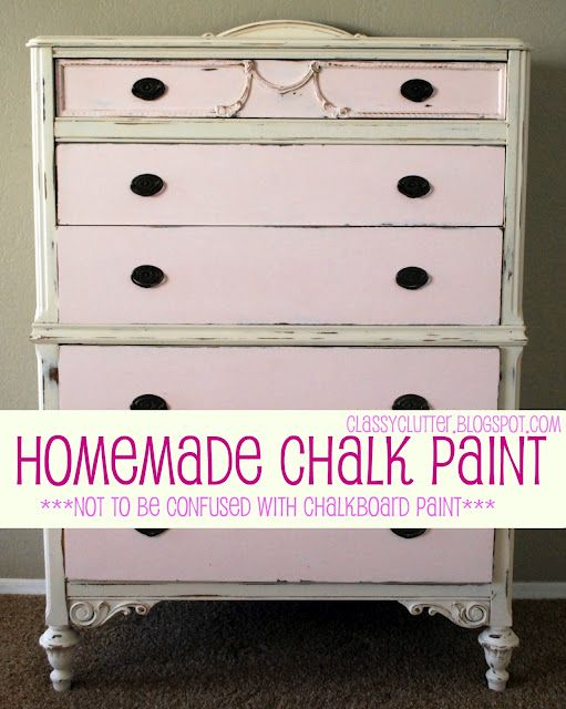 DIY chalk paint  (not chalkboard paint)Modern Furniture, Furniture Arrangement, Chalkboards Painting, Diy Chalk, Chalk Paint Recipes, Homemade Chalk Painting, Classy Clutter, Crafts, Chalk Painting Recipe