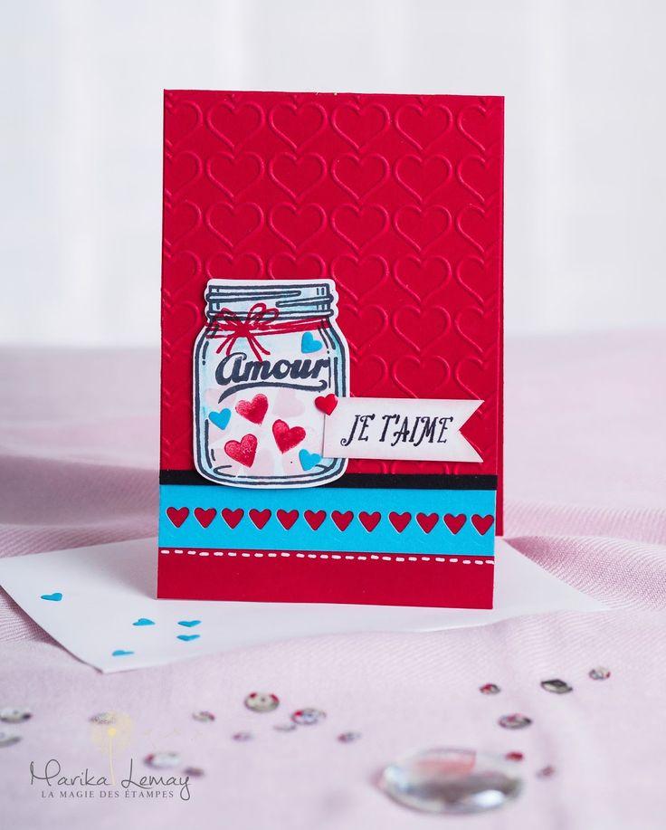 Carte St-Valentin Stampin'Up! avec le jeu Petit pot de bonheur.