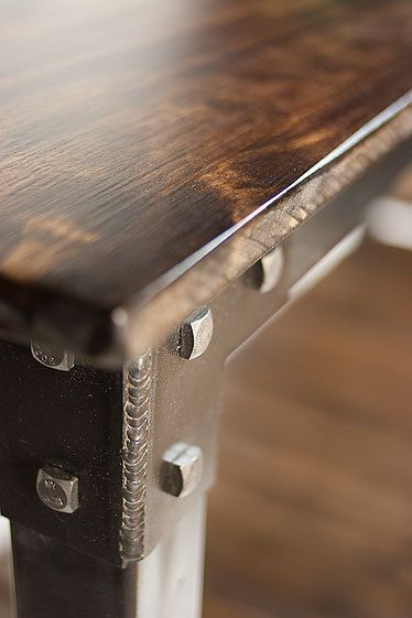Handmade metal and wood table console table by JRealFurniture