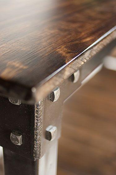 Table métal et bois à la main table console par JRealFurniture