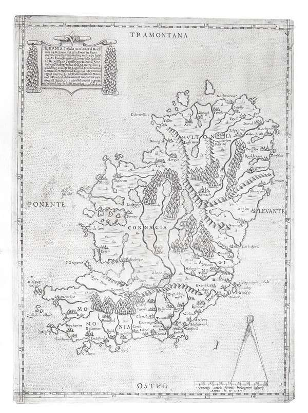 LOT:572 | Antonio LeFreri, fl. 1540-1577, Rome Hibernia Insula Engraving, 330 x 240mm This map is a product of Venice circa 1570 is regarded as one of the rarer printed maps of Ireland. abl P.9 (ii)
