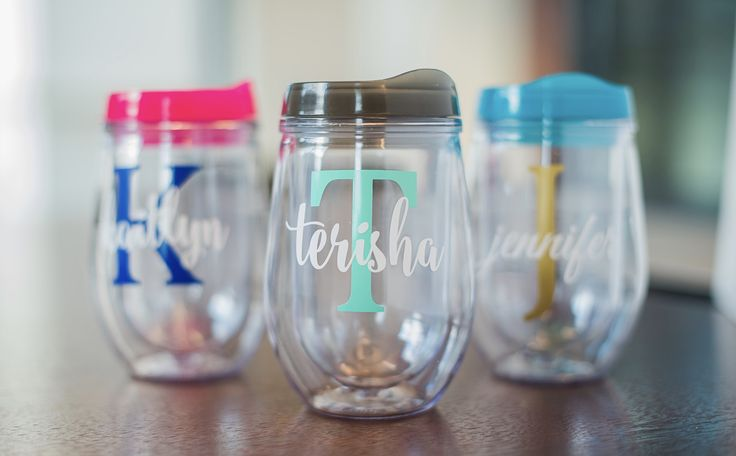 Personalized wine tumblers are the perfect bridesmaid gift! Also popular for your bachelorette party! Get your monogrammed Bev2Go wine tumbler today!