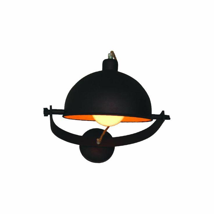 Industriële wandlamp lampenkap in roestbruin met beige 35cm diameter