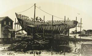 Nova Scotia Shipyard, Herbert Waters, 1965, wood engraving, 7 5/16 in. x 13 1/16 in. Currier Museum of Art.