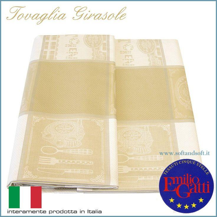 GIRASOLE Tovaglia per 12 puro Cotone Made in Italy - Gatti Emilio 180x260