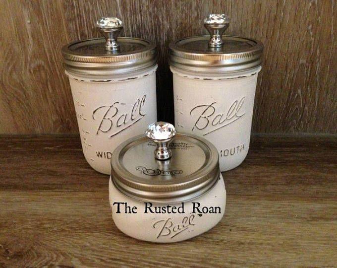 Mason Jar 3 piece Set, Mason Jar Bath Set, Bathroom, Kitchen, Mason Canisters, Rustic Chic Mason Jars, Mason Jar Decor, Painted Mason Jars