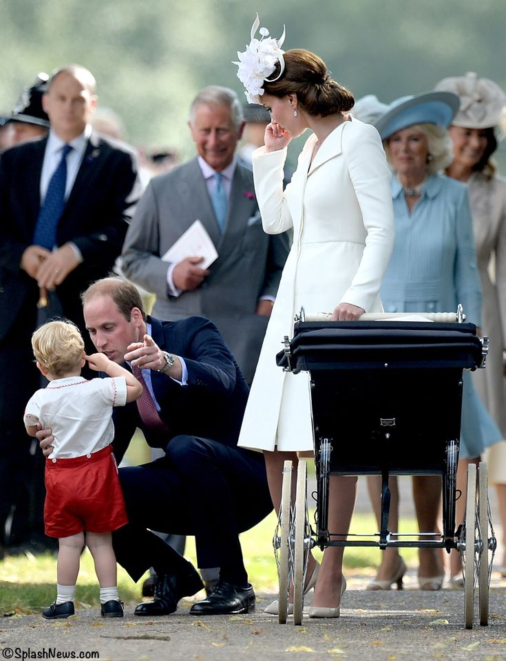 whatkatewore: Christening of Princess Charlotte of Cambridge, July 5, 2015-Duke of Cambridge with Prince George, Duchess of Cambridge with Princess Charlotte in her pram and the Prince of Wales, Duchess of Cornwall and Carole Middleton in the background