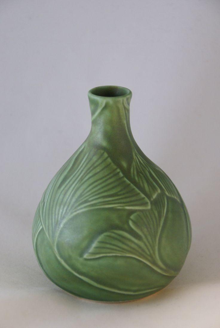 ¤ hand-carved porcelain vase by Mary Pratt, Roycroft Renaissance Artisan.