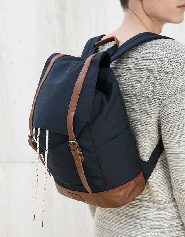 Novedades - NEW COLLECTION - HOMBRE - Bershka Mexico Fashion Moda, Indie Fashion, Mens Fashion, Men's Backpack, Canvas Backpack, Fashion Handbags, Fashion Bags, Designer Shoulder Bags, Cute Backpacks