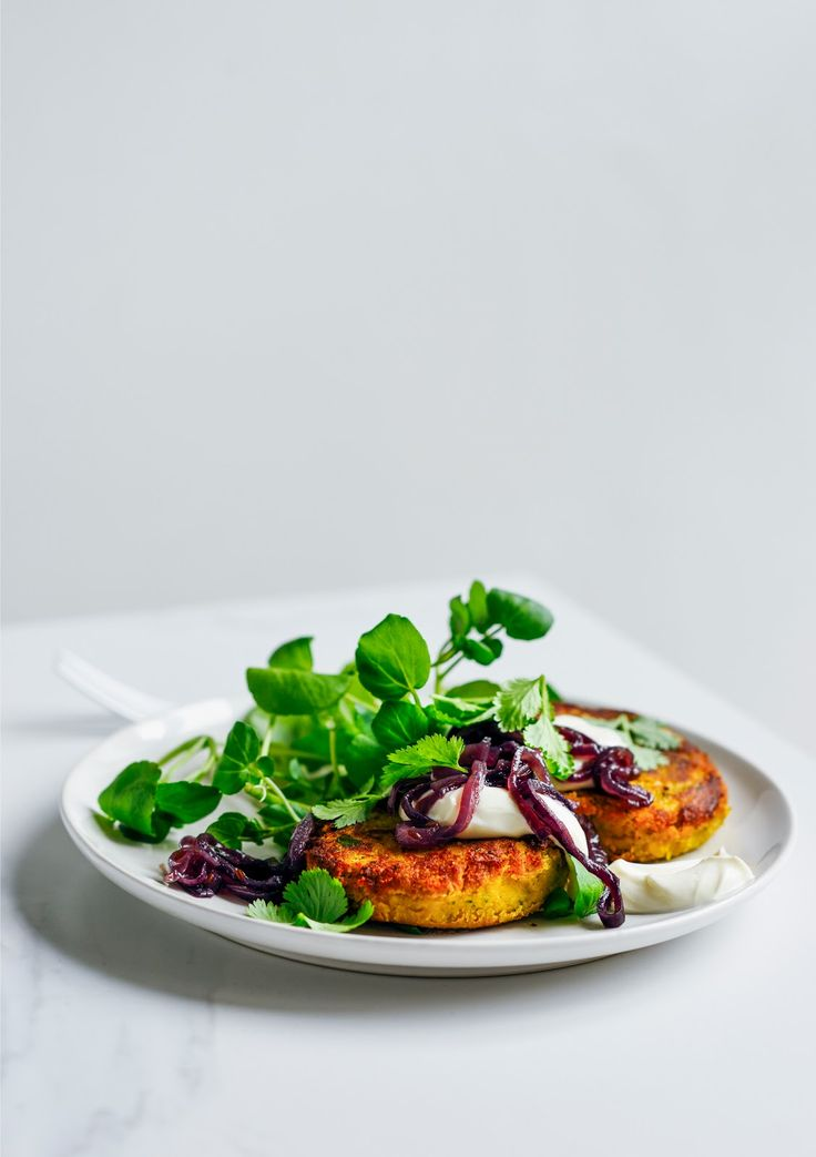 From The Kitchen: Chickpea & Sweet Potato Fritters with Cumin Spiked Caramelised Onion & Garlic Yoghurt