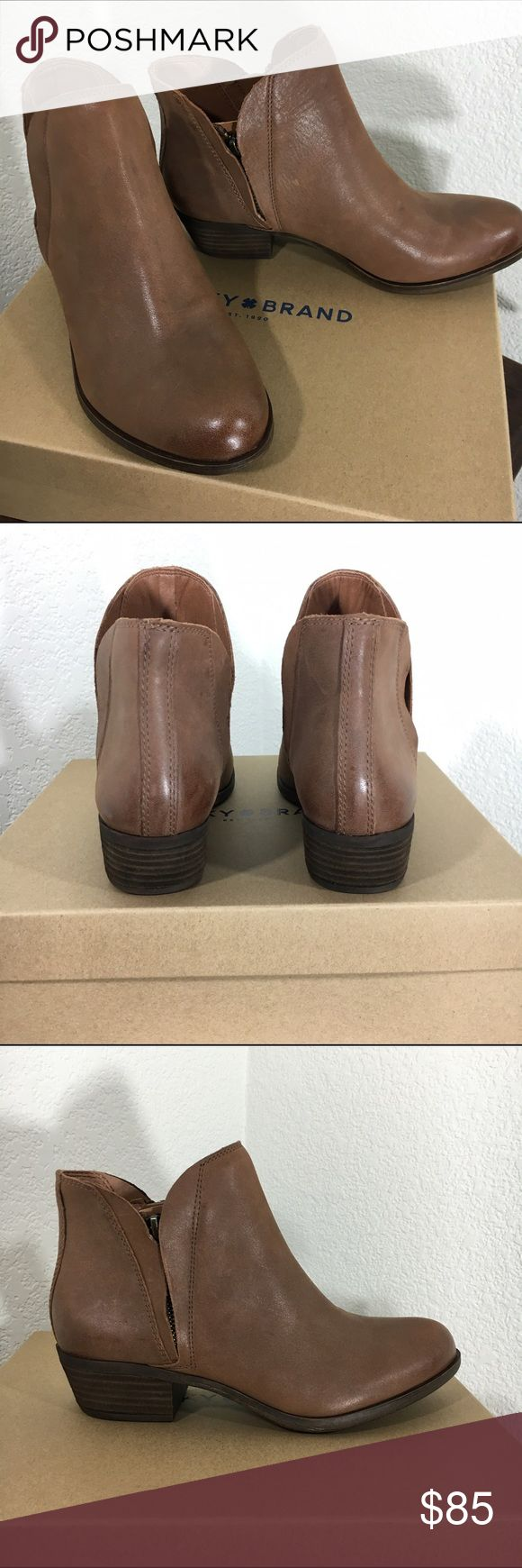 """Lucky leather booties Lucky boots. Great way to get ready for the fall. Upper leather. Side zip on inside and outside. 1.5"""" heel. Brown/tan color. Lucky Brand Shoes Ankle Boots & Booties"""