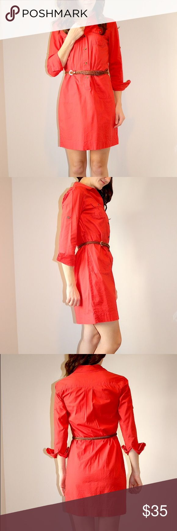 Banana Republic Red Shirt Dress Red shirt dress with pockets. Above knee. Tortoise shell buttons. Belt not included.  Full disclosure, small hole on front of dress. Banana Republic Dresses Long Sleeve