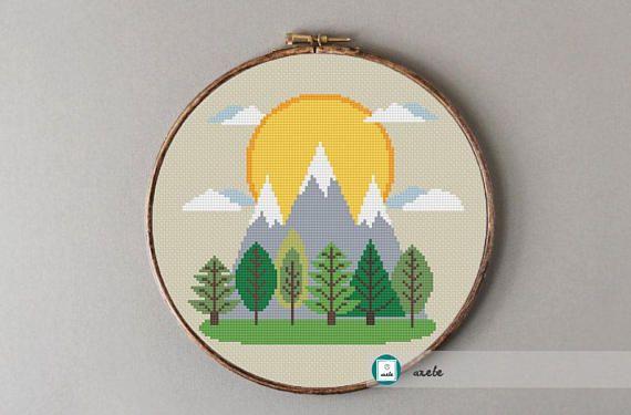 Mountains cross stitch pattern modern cross stitch pattern