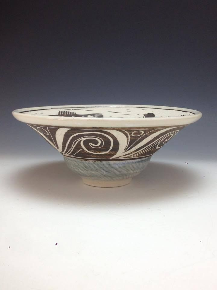 Porcelain Rim Bowl - profile picture Stylized Fish Sgraffito Design Anne Webb #sgraffito #pottery #bowl