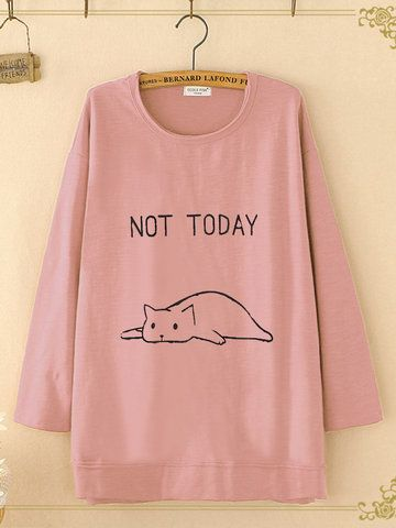 Print Cat Casual Loose Crew Neck T Shirt Style Pinterest