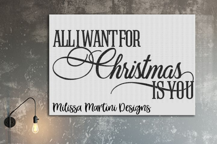 All I Want For Christmas Is You - DesignBundles.net - The file types provided are specifically made with a cutting machine in mind. They are designed for software that has the ability to read the file type: SVG, DXF or EPS.This file was made with plotters in mind.  It will work with home based systems and industrial type cutters.  #svg #eps #vector #cutting #cut #signcut #quote #christmas #christmasquote #craft #crafts #scrapbook #dxf #png #design #designs