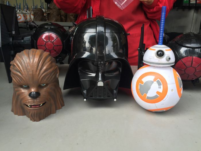 Here is a look at the Chewbacca Stein, Darth Vader popcorn bucket and BB-8 sipper.