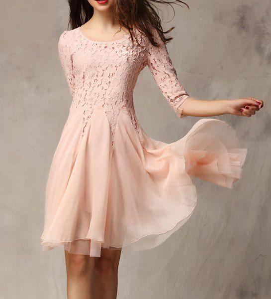 $19.45 Elegant Women's Scoop Neck Baded Applique Lace Splicing 3/4 Sleeve Chiffon Dress