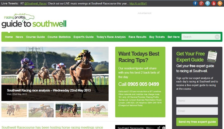 """Racing Profits Guides Ltd First """"Model"""" Racecourse Guide Site - SouthwellRacecourseTips.co.uk - Launched in May 2012"""