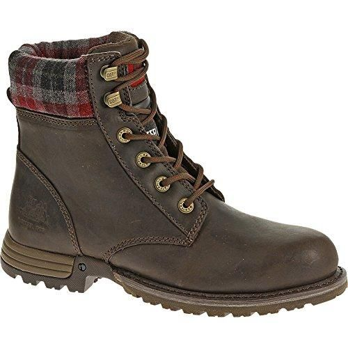 The Kenzie Women  s Steel Toe Work Bo   Steel toe   Bark   P90394. For those seeking style and strength in a work boot, the Kenzie is the perfect fit for you. With a plaid covered cuff, this boot gives off all the appeal of a trendy combat boot with the durability of a classic work boot. Enhanced with a steel toe, your feet will be protected and stylish.  Steel Toe  Electrical Hazard. Women s