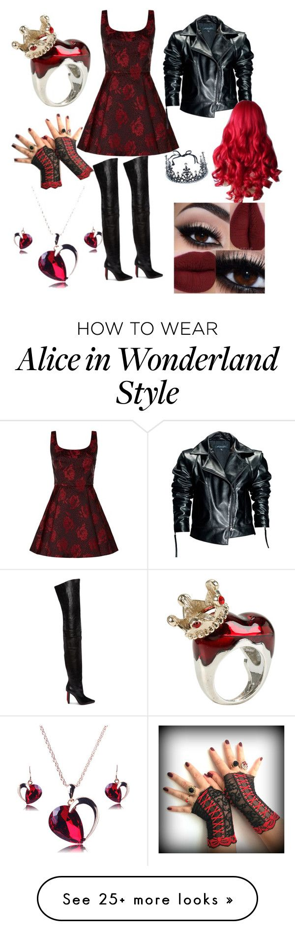 """red queen ❤"" by zombifiedlover on Polyvore featuring Alice + Olivia, Vetements, Leka, Disney and REGALROSE"
