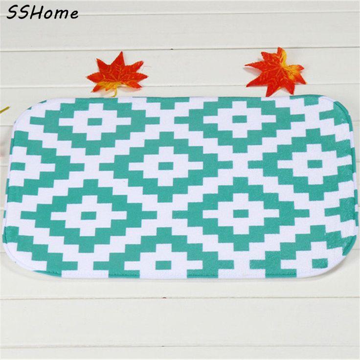 >> Click to Buy << Coral Velvet Bathroom Carpet Mats Anti-slip Rug Shower 40x60cm Green Stripes Bath Kitchen Doormat for Hallway Home Decoration #Affiliate
