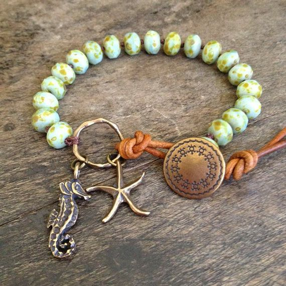 "Sea Horse & Starfish Hand Knotted Bracelet, ""Beach Boho"" Bohemian Jewelry $34.00"