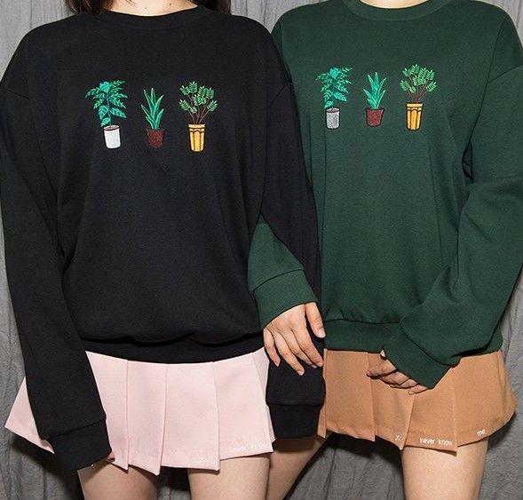 Растения вышивка толстовка harajuku ulzzang корейский японский каваи 2016 девушка свитшот купить на AliExpress