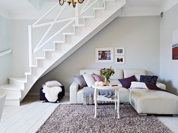 11 Ways To Use Space Under Stairs 5. White ApartmentDuplex  ApartmentApartment DesignLiving Room ...