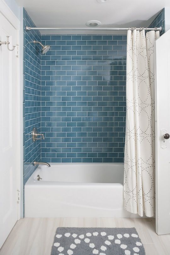 What do you think of a bold colored subway tile as a tub surround in the bathroom?