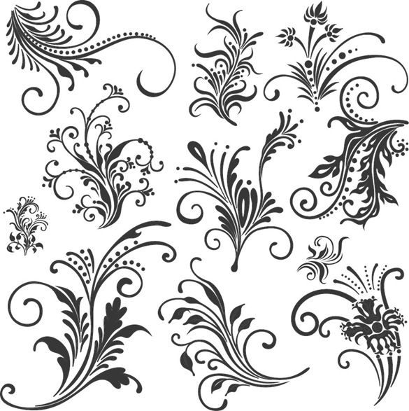 vector graphics | Free Floral Elements Vector Set | Free Vector Graphics | All Free Web ...
