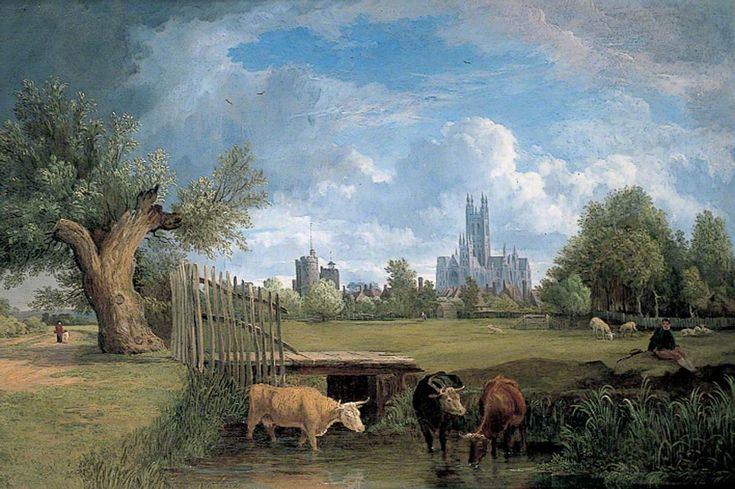 Canterbury, Kent, from the Stour Meadows  Alfred Stannard (1806–1889)  Canterbury City Council Museums and Galleries